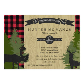 Birthday Party Woodland Forest Lumberjack Plaid Card