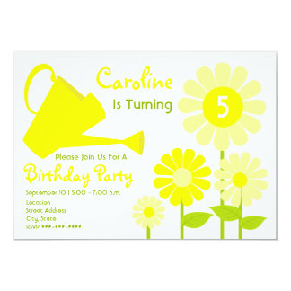 Birthday Party - Yellow Flowers & Watering Can Card