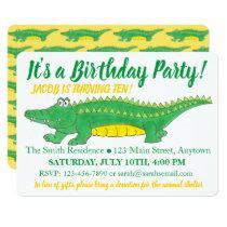 Birthday Party Yellow Green Alligator Crocodile Invitation