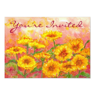 Birthday Party Yellow Marigold Watercolor Flowers Card
