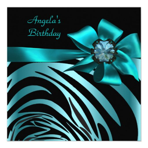 Birthday Party Zebra Black Teal Blue Bow Announcements  Zazzle