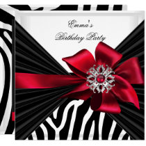 Birthday Party Zebra Elegant Red Black White Invitation
