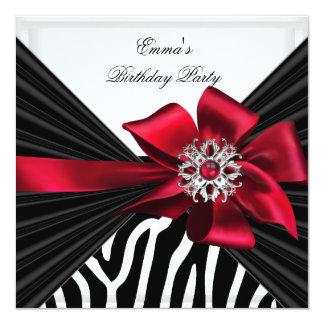 "Birthday Party Zebra Elegant Red Black White 5.25"" Square Invitation Card"