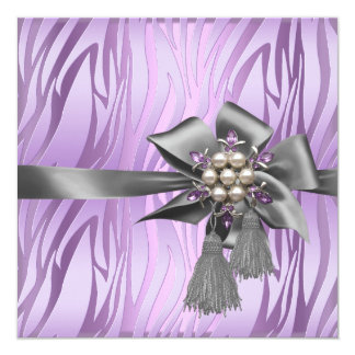 Birthday Party Zebra Lilac Pink Silver Pearl Bow Card