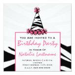 Birthday Party - Zebra Print & Pink Party Hat Invite