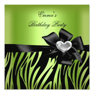 "Birthday Party Zebra Silver Lime Green Black 5.25"" Square Invitation Card"