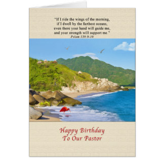 Birthday, Pastor, Beach, Hills, Birds, Ocean Greeting Card