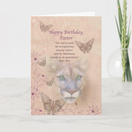 Birthday Pastor Cougar And Butterflies Card Zazzle