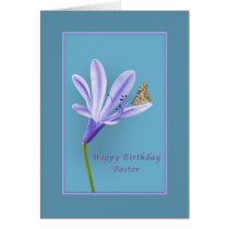 Birthday, Pastor, Daylily Flower and Butterfly Card
