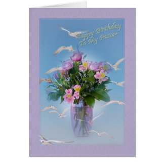 Birthday, Pastor, Flowers and Birds Card