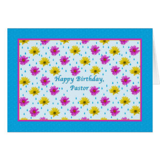 Birthday, Pastor, Pink and Yellow Daisies Card