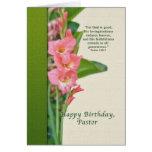 Birthday, Pastor, Pink Gladiolus Cards