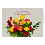 Birthday, Pastor's Wife, Rose Bouquet Card