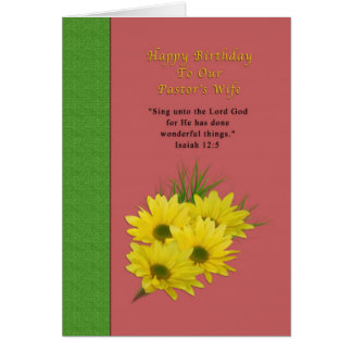 Birthday, Pastor's Wife, Yellow Daisies, Religious Card