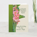 "Birthday, Pastor's Wife, Pink Gladiolus Card<br><div class=""desc"">These pink gladiolus are a perfect way to say ""happy birthday""  to a special pastor or minister's wife.  Feel free to change the inside of the card to suit your needs.</div>"