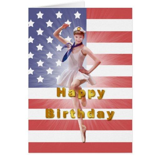 Birthday patriotic ballerina and usa flag card zazzle