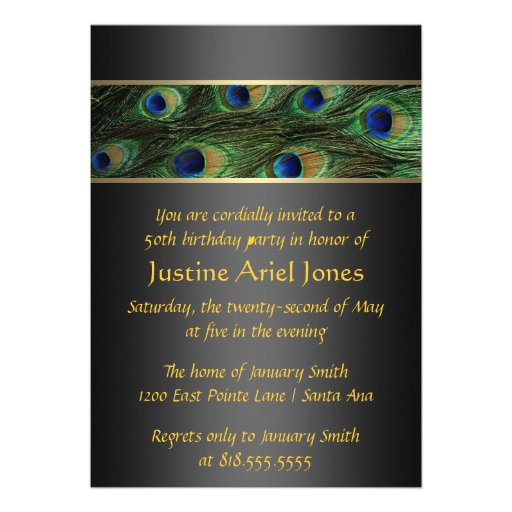 Birthday peacock invitation