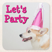 Birthday Pembroke Welsh Corgi Dog Square Paper Coaster