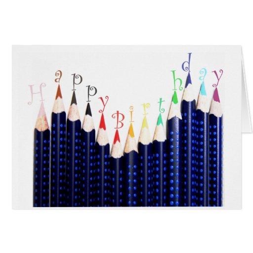 Birthday pencils greeting cards