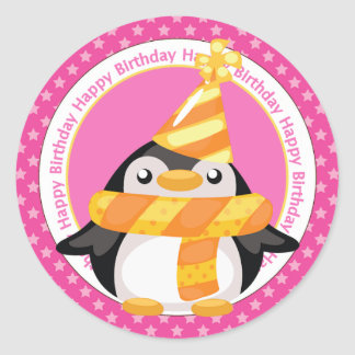 Birthday Penguin in Party Hat Classic Round Sticker