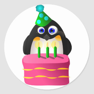 Birthday Penguin With Cake Classic Round Sticker