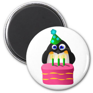 Birthday Penguin With Cake Magnet