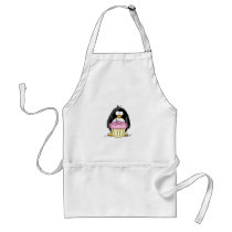 Birthday Penguin with Cupcake Adult Apron