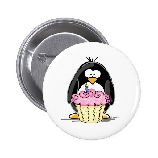Birthday Penguin with Cupcake Button