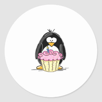 Birthday Penguin with Cupcake Classic Round Sticker