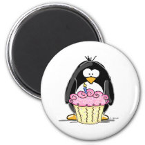 Birthday Penguin with Cupcake Magnet
