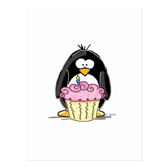 Birthday Penguin with Cupcake Postcard