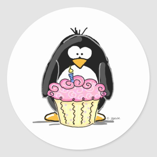 Birthday Penguin with Cupcake Sticker