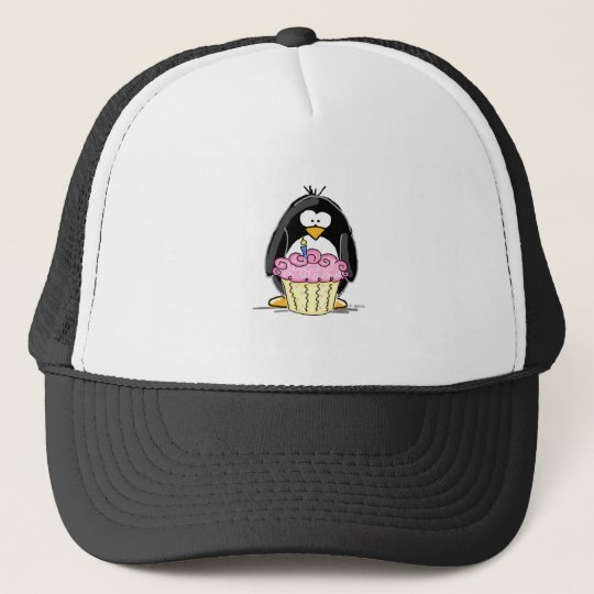 Birthday Penguin with Cupcake Trucker Hat