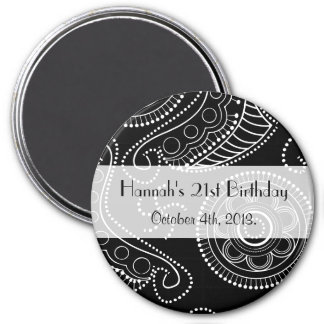 Birthday - Persian Paisley, Dots - Black White 3 Inch Round Magnet
