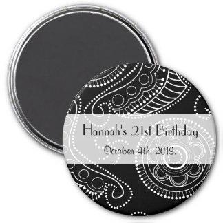 Birthday - Persian Paisley, Dots - Black White Magnet