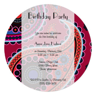 Birthday - Persian Paisley Dots - Red Blue Pink Custom Invitations