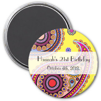 Birthday - Persian Paisley, Dots - Yellow Blue 3 Inch Round Magnet