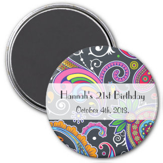 Birthday - Persian Paisley - Green Pink Blue 3 Inch Round Magnet