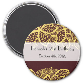 Birthday - Persian Paisley, Leaves - Red Yellow 3 Inch Round Magnet