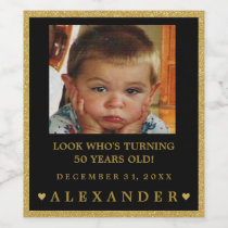 Birthday Photo Gold Glitter Look Champagne or Wine Label