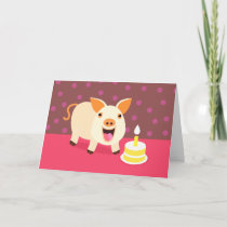 Birthday Pig & Cake Card