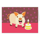 Birthday Pig & Cake Greeting Card