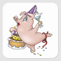 Birthday Pig Stickers