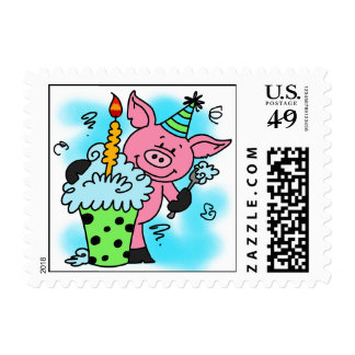 Birthday Pig With Cupcake Postage Stamps