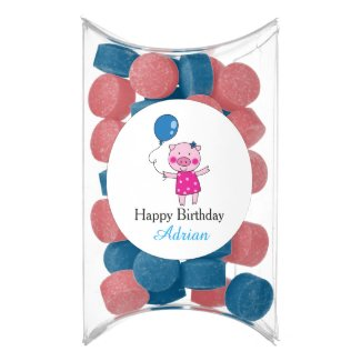 birthday piggy girl with blue balloon - add name chewing gum favors