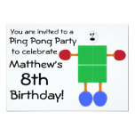Birthday Ping Pong Party Invitation