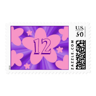 Birthday pink and purple stars postage stamp