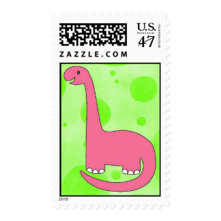 Birthday Pink Dinosaur Stamp
