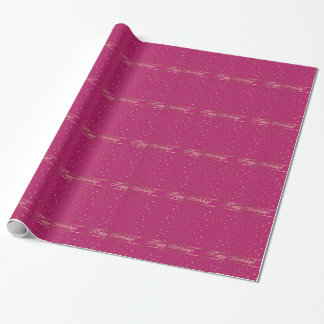 Birthday Pink Golden Stars Wrapping Paper