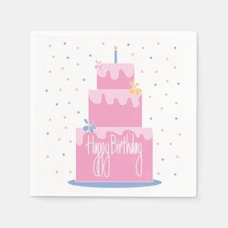 Birthday Pink Layered Cake Napkins with Confetti